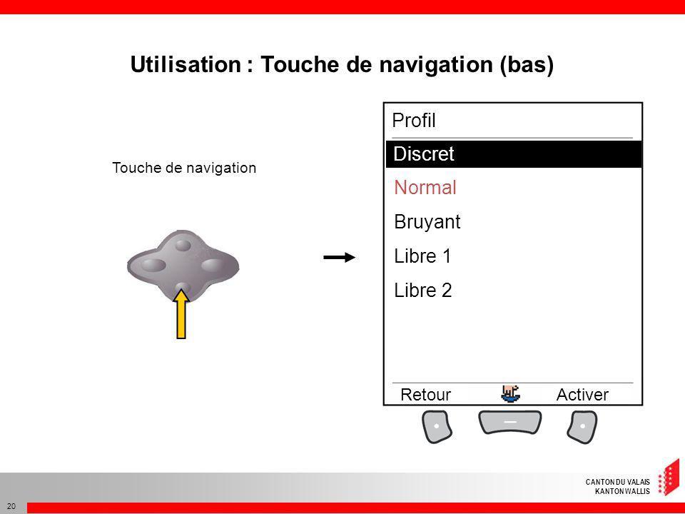 CANTON DU VALAIS KANTON WALLIS 20 Utilisation : Touche de navigation (bas) Touche de navigation Discret Normal Bruyant Libre 1 Libre 2 RetourActiver P