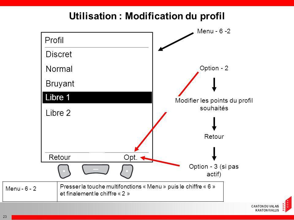 CANTON DU VALAIS KANTON WALLIS 23 Discret Normal Bruyant Libre 1 Libre 2 RetourOpt. Profil Libre 1 Utilisation : Modification du profil Menu - 6 -2 Op