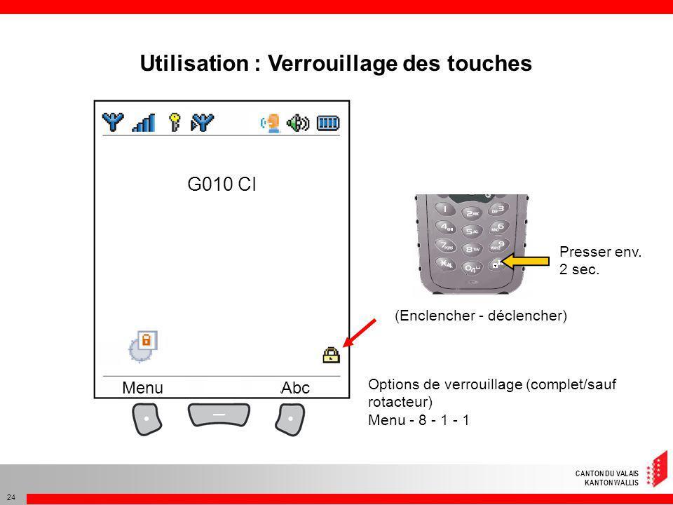 CANTON DU VALAIS KANTON WALLIS 24 Presser env. 2 sec. (Enclencher - déclencher) G010 CI MenuAbc Options de verrouillage (complet/sauf rotacteur) Menu