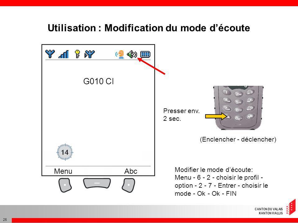 CANTON DU VALAIS KANTON WALLIS 25 G010 CI MenuAbc Presser env. 2 sec. (Enclencher - déclencher) Modifier le mode découte: Menu - 6 - 2 - choisir le pr