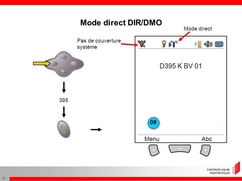 CANTON DU VALAIS KANTON WALLIS 27 D395 K BV 01 MenuAbc Mode direct DIR/DMO Pas de couverture système 395 Mode direct 06