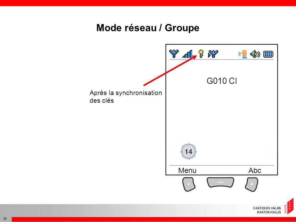 CANTON DU VALAIS KANTON WALLIS 35 G010 CI MenuAbc Après la synchronisation des clés Mode réseau / Groupe