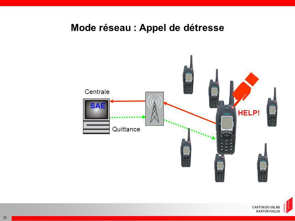 CANTON DU VALAIS KANTON WALLIS 36 Centrale Quittance SAE HELP! Mode réseau : Appel de détresse