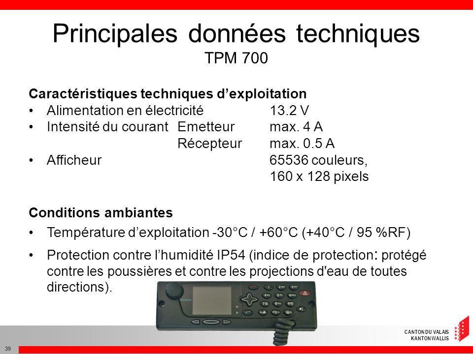 CANTON DU VALAIS KANTON WALLIS 39 Caractéristiques techniques dexploitation Alimentation en électricité13.2 V Intensité du courantEmetteurmax. 4 A Réc