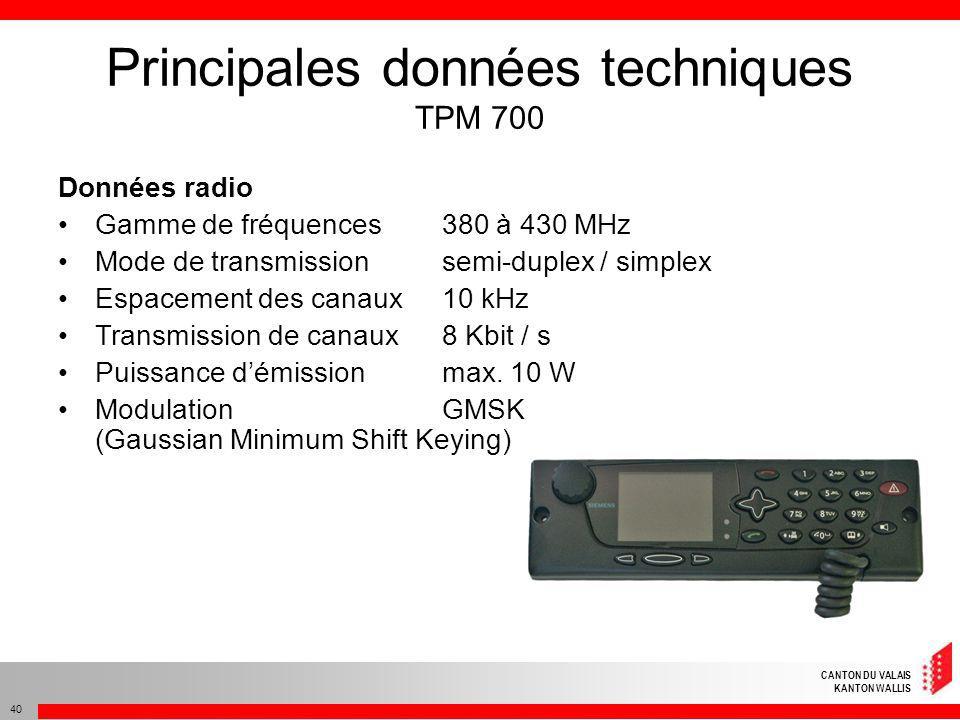 CANTON DU VALAIS KANTON WALLIS 40 Principales données techniques TPM 700 Données radio Gamme de fréquences 380 à 430 MHz Mode de transmissionsemi-dupl