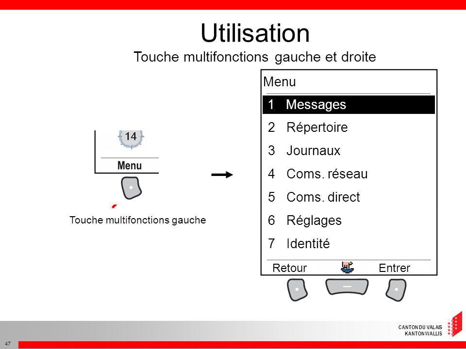 CANTON DU VALAIS KANTON WALLIS 47 Utilisation Touche multifonctions gauche et droite Touche multifonctions gauche 1Mesages 2Répertoire 3Journaux 4Coms