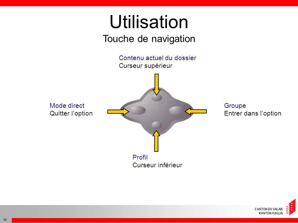 CANTON DU VALAIS KANTON WALLIS 48 Utilisation Touche de navigation Contenu actuel du dossier Curseur supérieur Profil Curseur inférieur Groupe Entrer