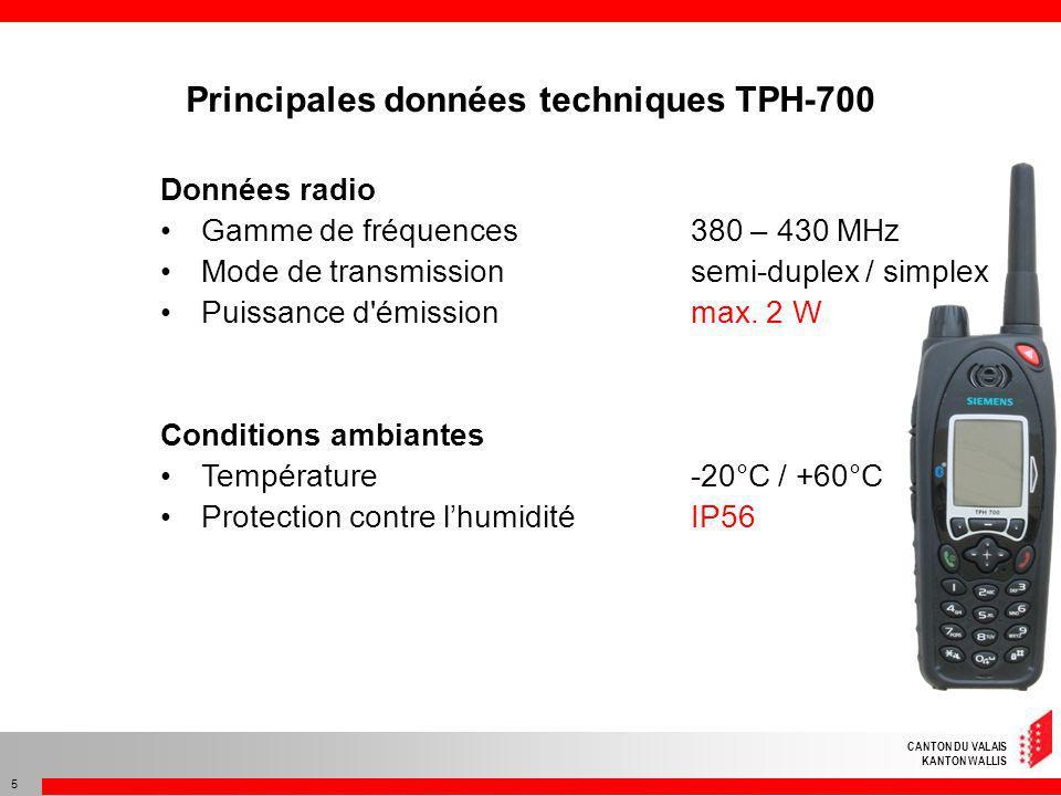 CANTON DU VALAIS KANTON WALLIS 5 Données radio Gamme de fréquences 380 – 430 MHz Mode de transmissionsemi-duplex / simplex Puissance d'émission max. 2