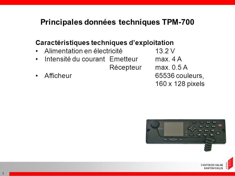CANTON DU VALAIS KANTON WALLIS 7 Données radio Gamme de fréquences 380 à 430 MHz Mode de transmissionsemi-duplex / simplex Puissance démission max.
