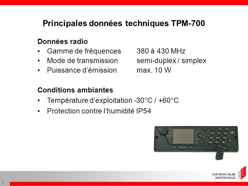 CANTON DU VALAIS KANTON WALLIS 7 Données radio Gamme de fréquences 380 à 430 MHz Mode de transmissionsemi-duplex / simplex Puissance démission max. 10