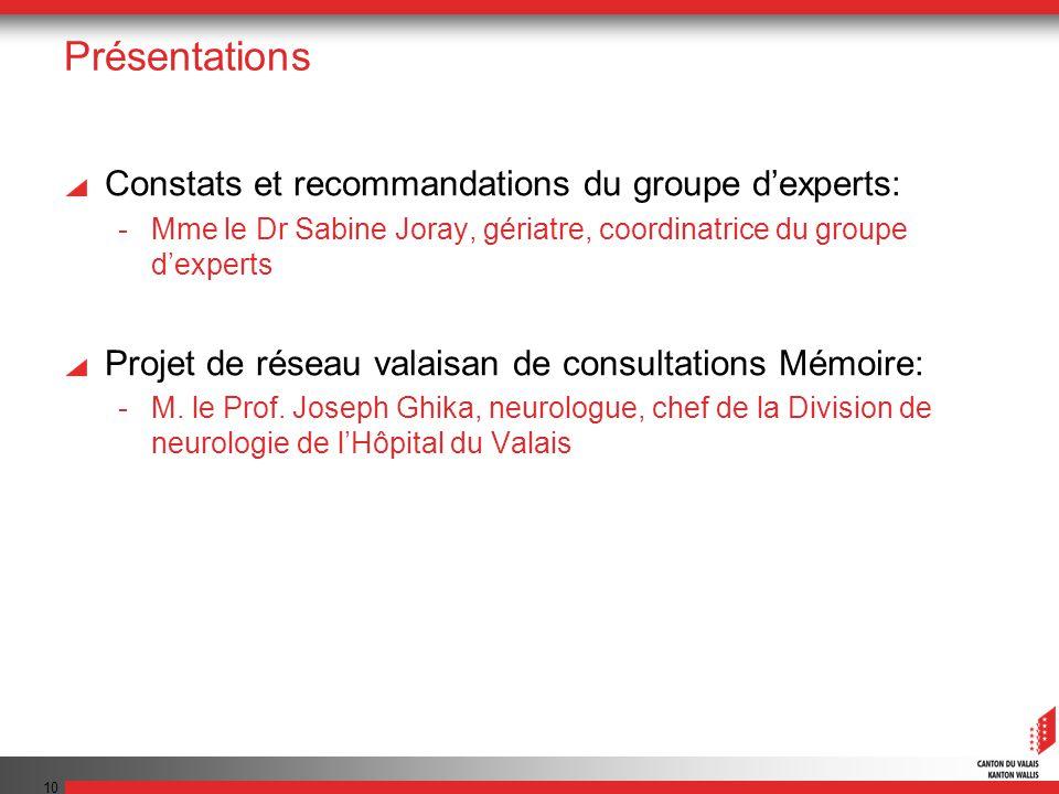 10 Présentations Constats et recommandations du groupe dexperts: -Mme le Dr Sabine Joray, gériatre, coordinatrice du groupe dexperts Projet de réseau
