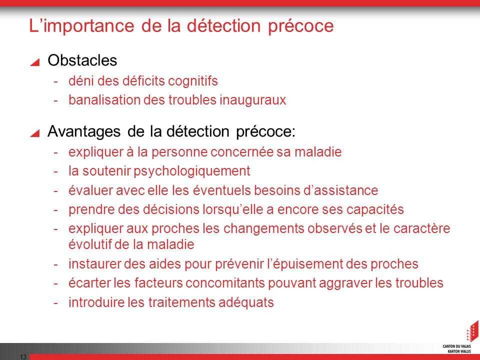 13 Limportance de la détection précoce Obstacles -déni des déficits cognitifs -banalisation des troubles inauguraux Avantages de la détection précoce: