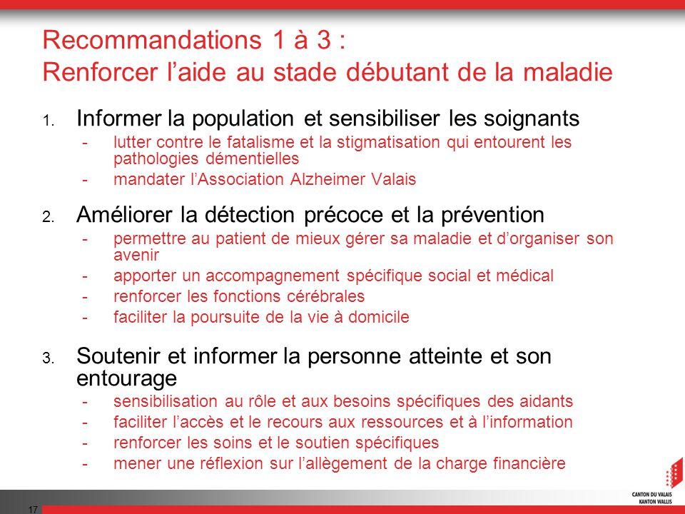17 Recommandations 1 à 3 : Renforcer laide au stade débutant de la maladie 1. Informer la population et sensibiliser les soignants -lutter contre le f