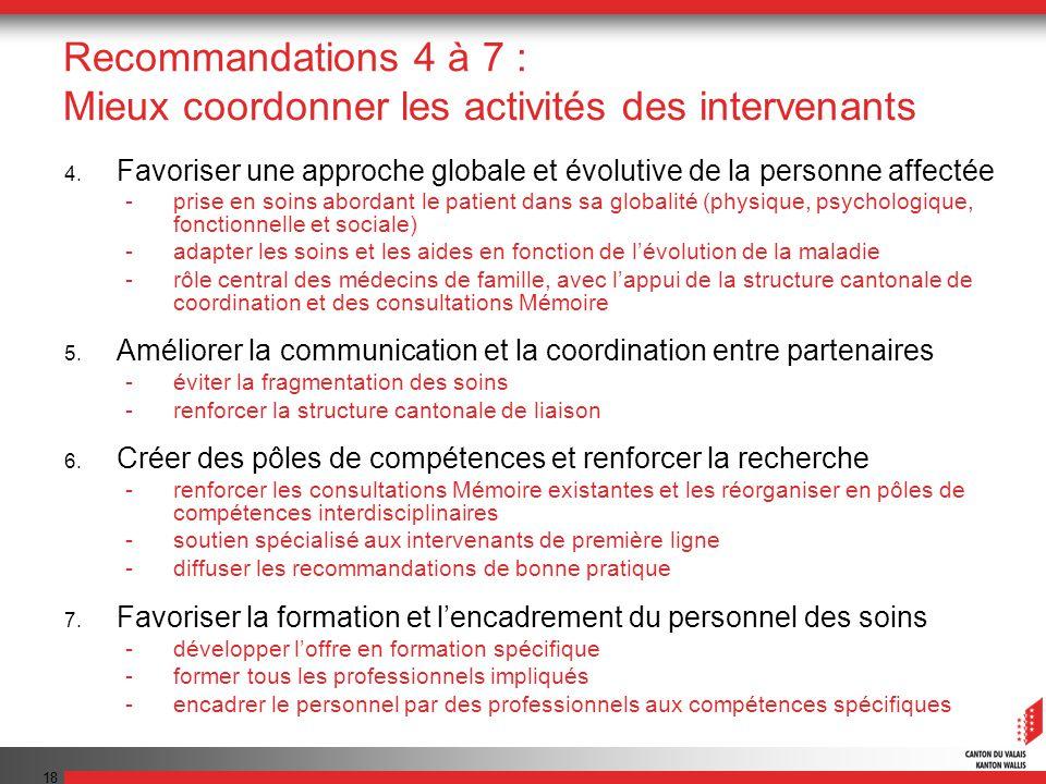 18 Recommandations 4 à 7 : Mieux coordonner les activités des intervenants 4. Favoriser une approche globale et évolutive de la personne affectée -pri