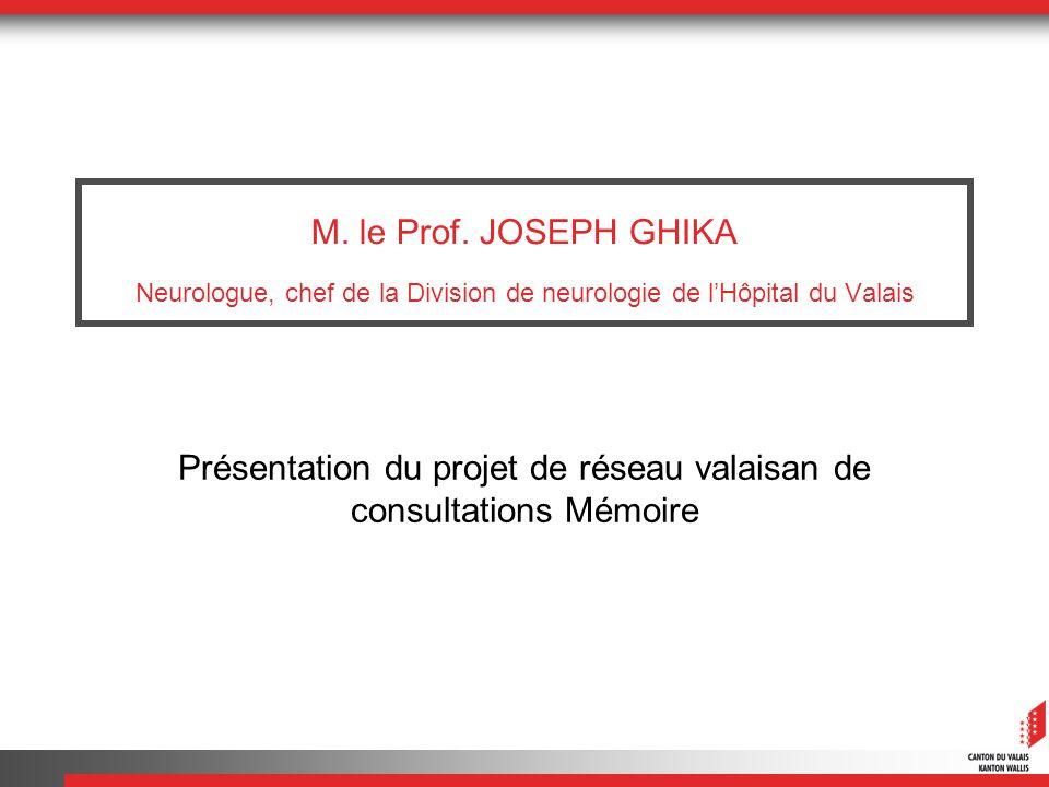 M. le Prof. JOSEPH GHIKA Neurologue, chef de la Division de neurologie de lHôpital du Valais Présentation du projet de réseau valaisan de consultation