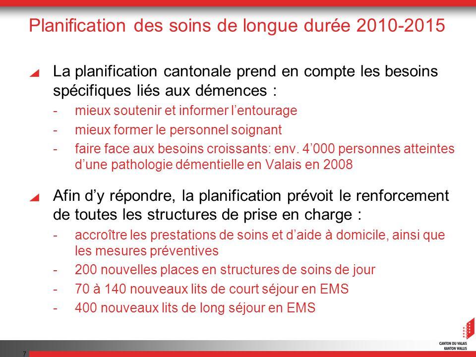 7 Planification des soins de longue durée 2010-2015 La planification cantonale prend en compte les besoins spécifiques liés aux démences : -mieux sout