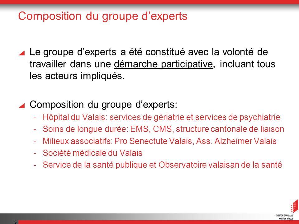 10 Présentations Constats et recommandations du groupe dexperts: -Mme le Dr Sabine Joray, gériatre, coordinatrice du groupe dexperts Projet de réseau valaisan de consultations Mémoire: -M.