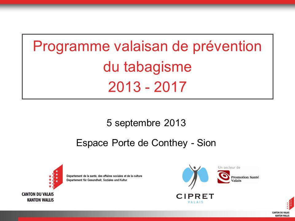 Programme valaisan de prévention du tabagisme 2013 - 2017 5 septembre 2013 Espace Porte de Conthey - Sion