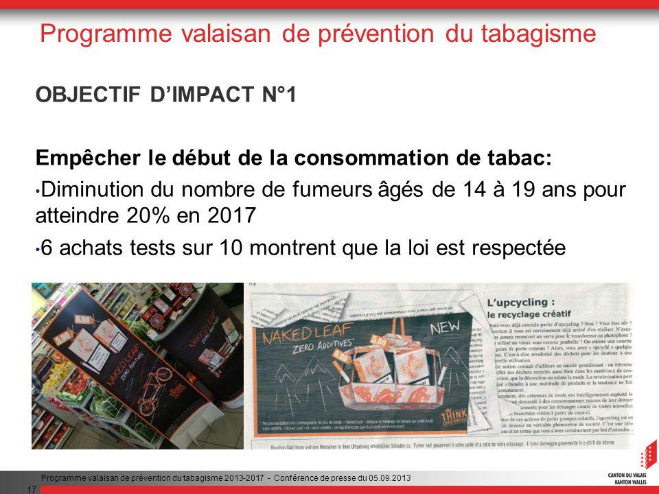 17 Programme valaisan de prévention du tabagisme OBJECTIF DIMPACT N°1 Empêcher le début de la consommation de tabac: Diminution du nombre de fumeurs âgés de 14 à 19 ans pour atteindre 20% en 2017 6 achats tests sur 10 montrent que la loi est respectée Programme valaisan de prévention du tabagisme 2013-2017 - Conférence de presse du 05.09.2013
