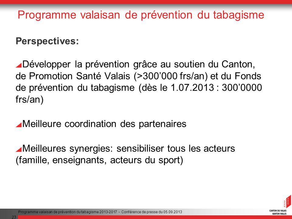 23 Programme valaisan de prévention du tabagisme Perspectives: Développer la prévention grâce au soutien du Canton, de Promotion Santé Valais (>300000 frs/an) et du Fonds de prévention du tabagisme (dès le 1.07.2013 : 3000000 frs/an) Meilleure coordination des partenaires Meilleures synergies: sensibiliser tous les acteurs (famille, enseignants, acteurs du sport) Programme valaisan de prévention du tabagisme 2013-2017 - Conférence de presse du 05.09.2013