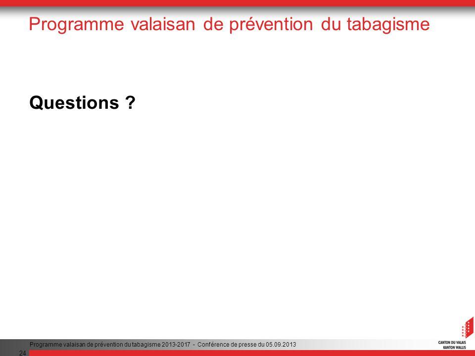 24 Programme valaisan de prévention du tabagisme Questions .