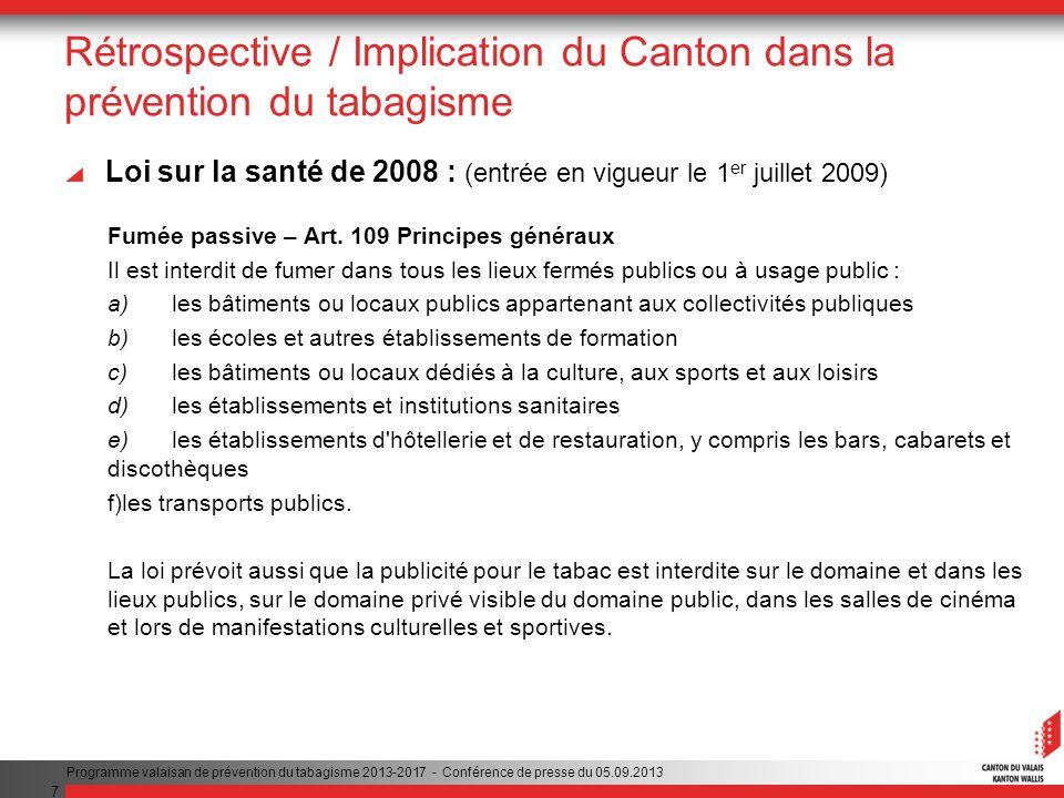 7 Rétrospective / Implication du Canton dans la prévention du tabagisme Loi sur la santé de 2008 : (entrée en vigueur le 1 er juillet 2009) Fumée passive – Art.