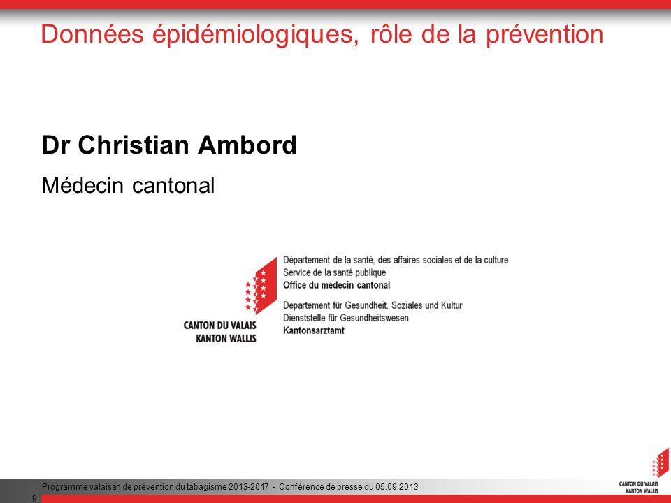 9 Données épidémiologiques, rôle de la prévention Dr Christian Ambord Médecin cantonal Programme valaisan de prévention du tabagisme 2013-2017 - Conférence de presse du 05.09.2013