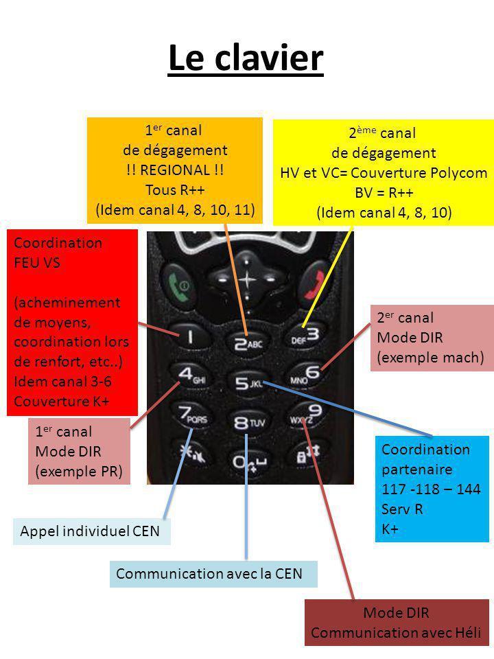 Le clavier Coordination FEU VS (acheminement de moyens, coordination lors de renfort, etc..) Idem canal 3-6 Couverture K+ 1 er canal de dégagement !.