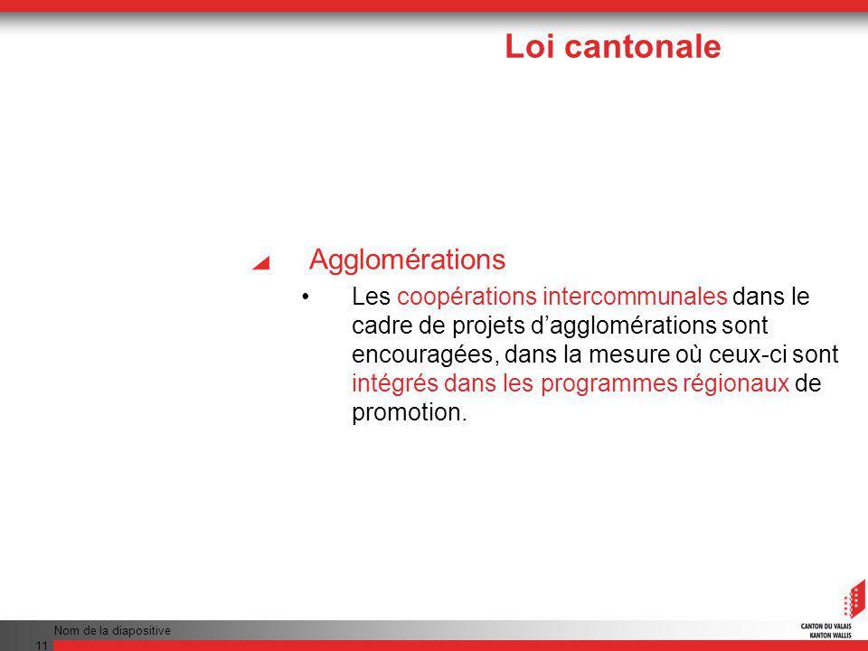 Nom de la diapositive 11 Agglomérations Les coopérations intercommunales dans le cadre de projets dagglomérations sont encouragées, dans la mesure où ceux-ci sont intégrés dans les programmes régionaux de promotion.