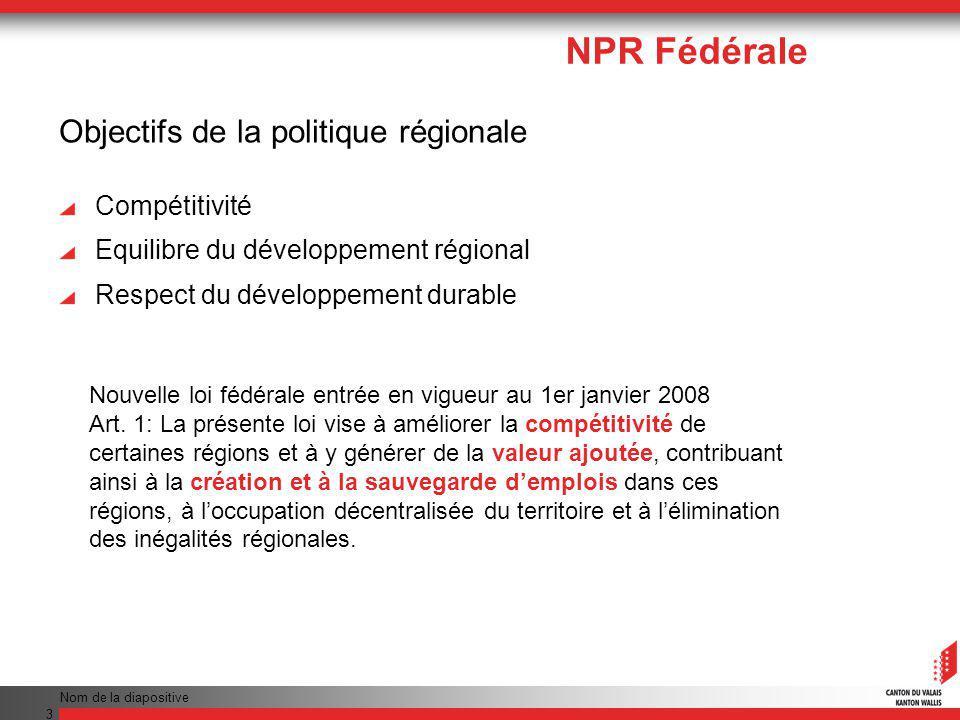 Nom de la diapositive 4 NPR Fédérale Approches géographiques Rôle des villes en tant que centres économiques du développement des campagnes avoisinantes Compétitivité du milieu rural en général Cohésion territoriale (coopération territoriale européenne comprise)