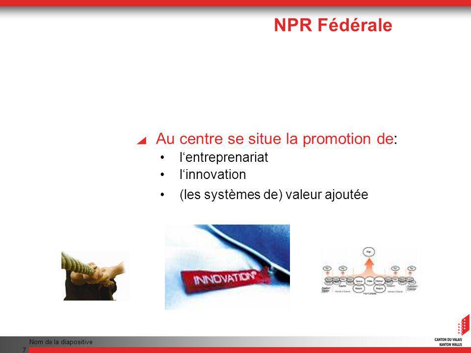 Nom de la diapositive 7 Au centre se situe la promotion de: lentreprenariat linnovation (les systèmes de) valeur ajoutée NPR Fédérale