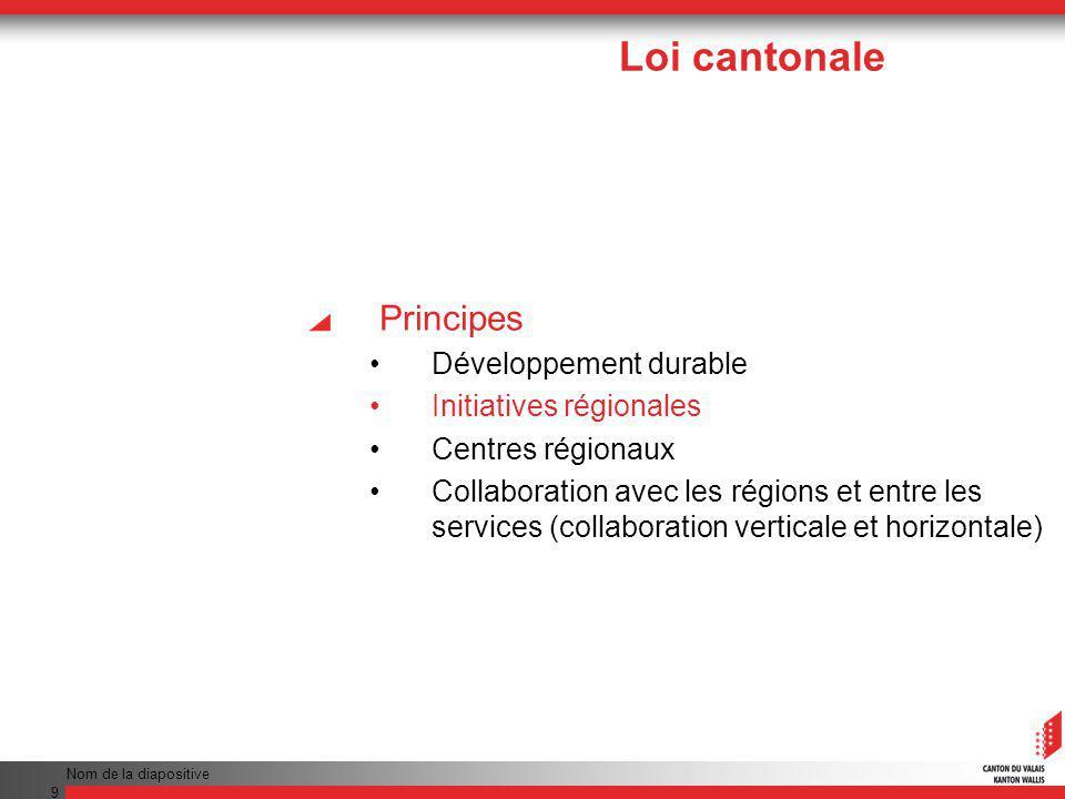 Nom de la diapositive 9 Principes Développement durable Initiatives régionales Centres régionaux Collaboration avec les régions et entre les services (collaboration verticale et horizontale) Loi cantonale