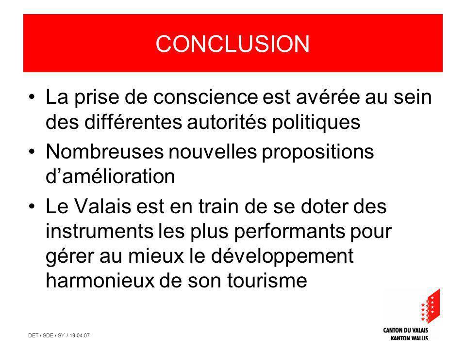 DET / SDE / SY / 18.04.07 CONCLUSION La prise de conscience est avérée au sein des différentes autorités politiques Nombreuses nouvelles propositions