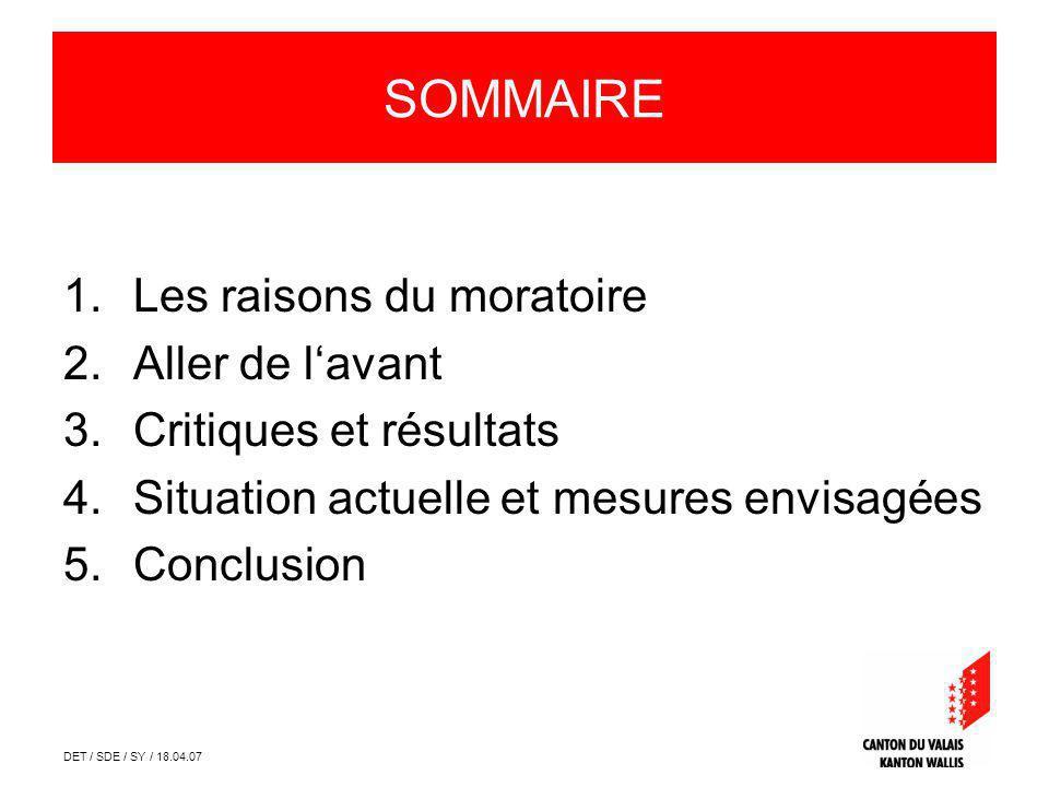 DET / SDE / SY / 18.04.07 SOMMAIRE 1.Les raisons du moratoire 2.Aller de lavant 3.Critiques et résultats 4.Situation actuelle et mesures envisagées 5.