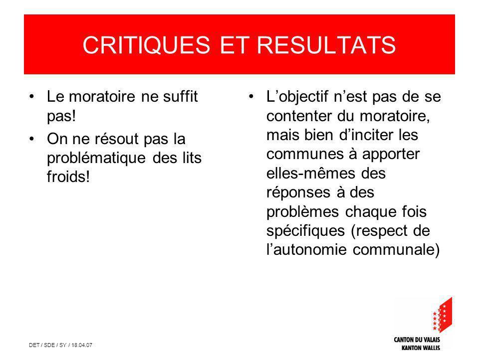 DET / SDE / SY / 18.04.07 CRITIQUES ET RESULTATS Le moratoire ne suffit pas.
