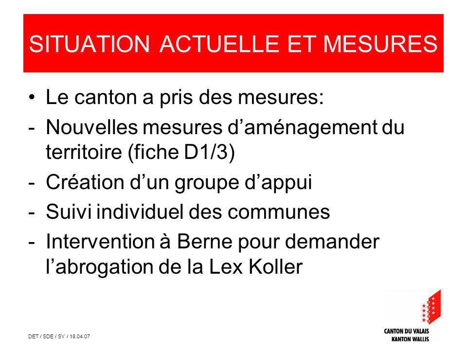 DET / SDE / SY / 18.04.07 SITUATION ACTUELLE ET MESURES Le canton a pris des mesures: -Nouvelles mesures daménagement du territoire (fiche D1/3) -Créa