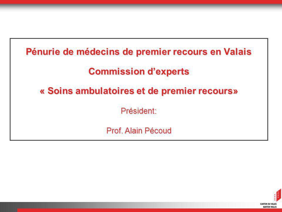 Pénurie de médecins de premier recours en Valais Commission dexperts « Soins ambulatoires et de premier recours» Président: Prof.