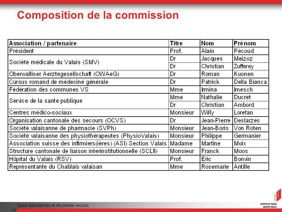 Soins ambulatoires et de premier recours 13 Composition de la commission