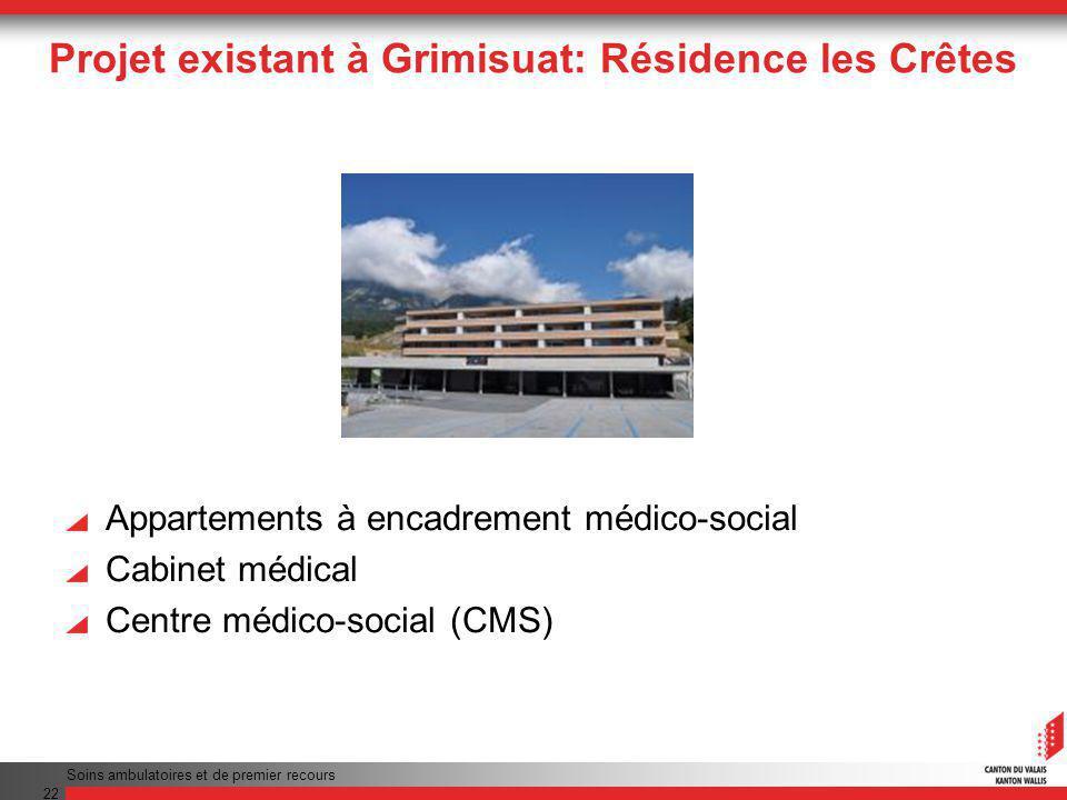 Projet existant à Grimisuat: Résidence les Crêtes Appartements à encadrement médico-social Cabinet médical Centre médico-social (CMS) Soins ambulatoires et de premier recours 22