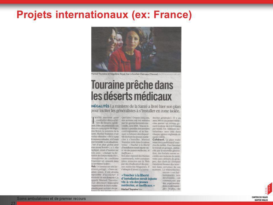 Projets internationaux (ex: France) Soins ambulatoires et de premier recours 23