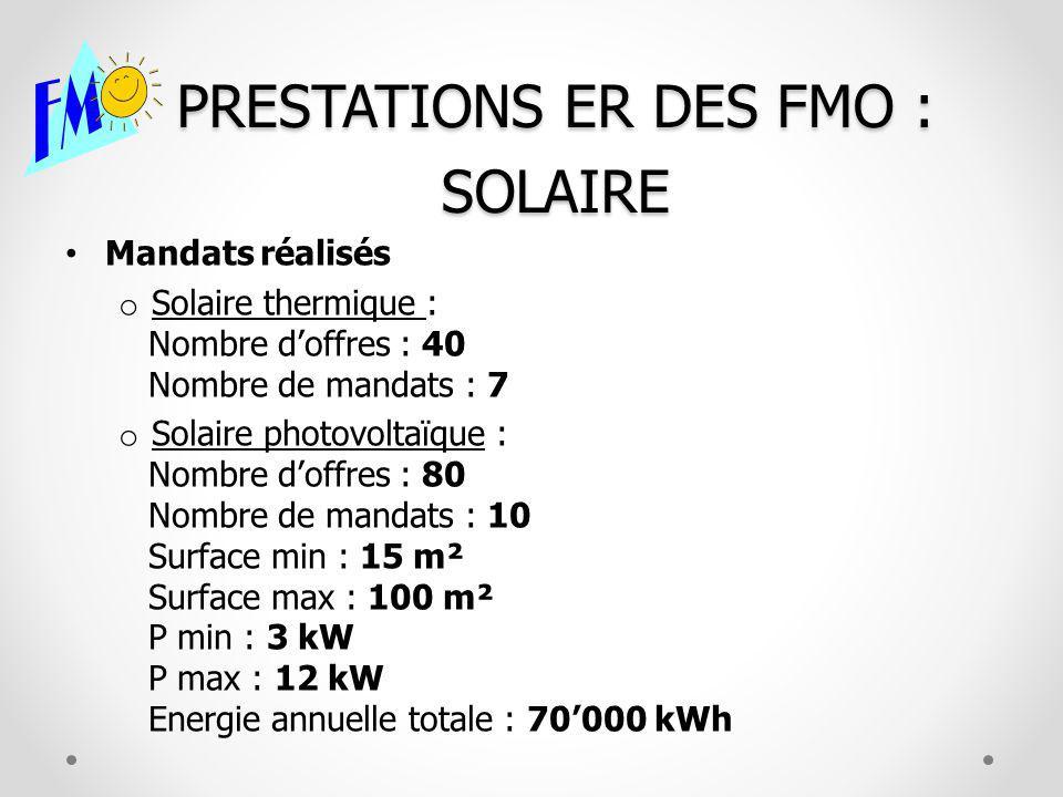 PRESTATIONS ER DES FMO : SOLAIRE Mandats réalisés o Solaire thermique : Nombre doffres : 40 Nombre de mandats : 7 o Solaire photovoltaïque : Nombre doffres : 80 Nombre de mandats : 10 Surface min : 15 m² Surface max : 100 m² P min : 3 kW P max : 12 kW Energie annuelle totale : 70000 kWh
