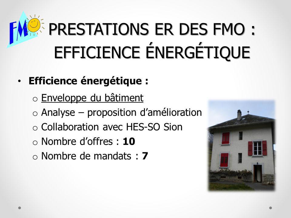 PRESTATIONS ER DES FMO : EFFICIENCE ÉNERGÉTIQUE Efficience énergétique : o Enveloppe du bâtiment o Analyse – proposition damélioration o Collaboration