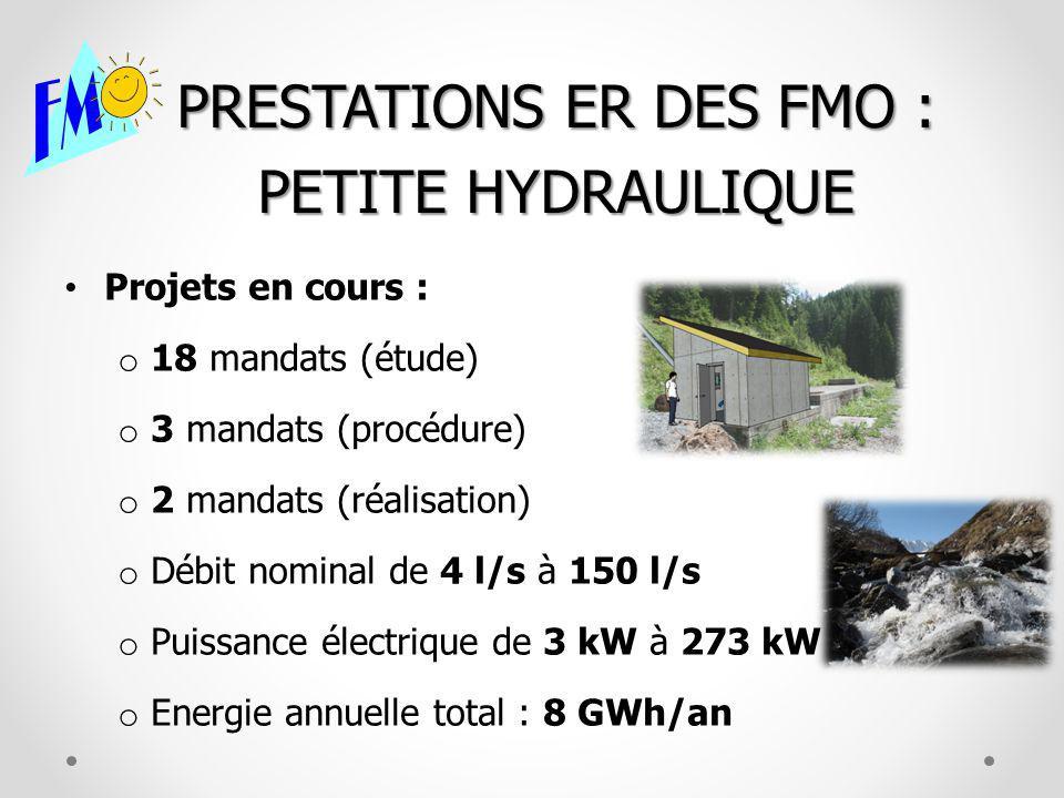 PRESTATIONS ER DES FMO : PETITE HYDRAULIQUE Projets en cours : o 18 mandats (étude) o 3 mandats (procédure) o 2 mandats (réalisation) o Débit nominal de 4 l/s à 150 l/s o Puissance électrique de 3 kW à 273 kW o Energie annuelle total : 8 GWh/an