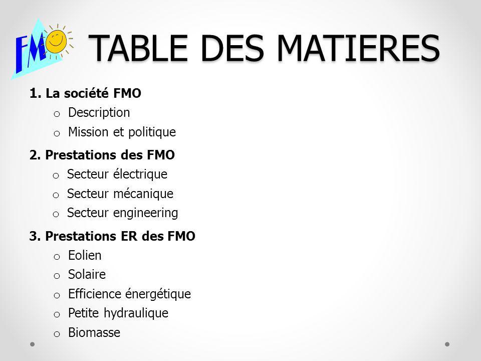 TABLE DES MATIERES 1. La société FMO o Description o Mission et politique 2. Prestations des FMO o Secteur électrique o Secteur mécanique o Secteur en