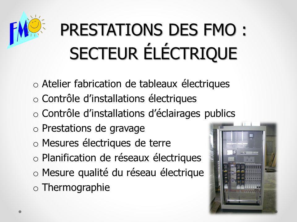 PRESTATIONS DES FMO : SECTEUR ÉLÉCTRIQUE o Atelier fabrication de tableaux électriques o Contrôle dinstallations électriques o Contrôle dinstallations