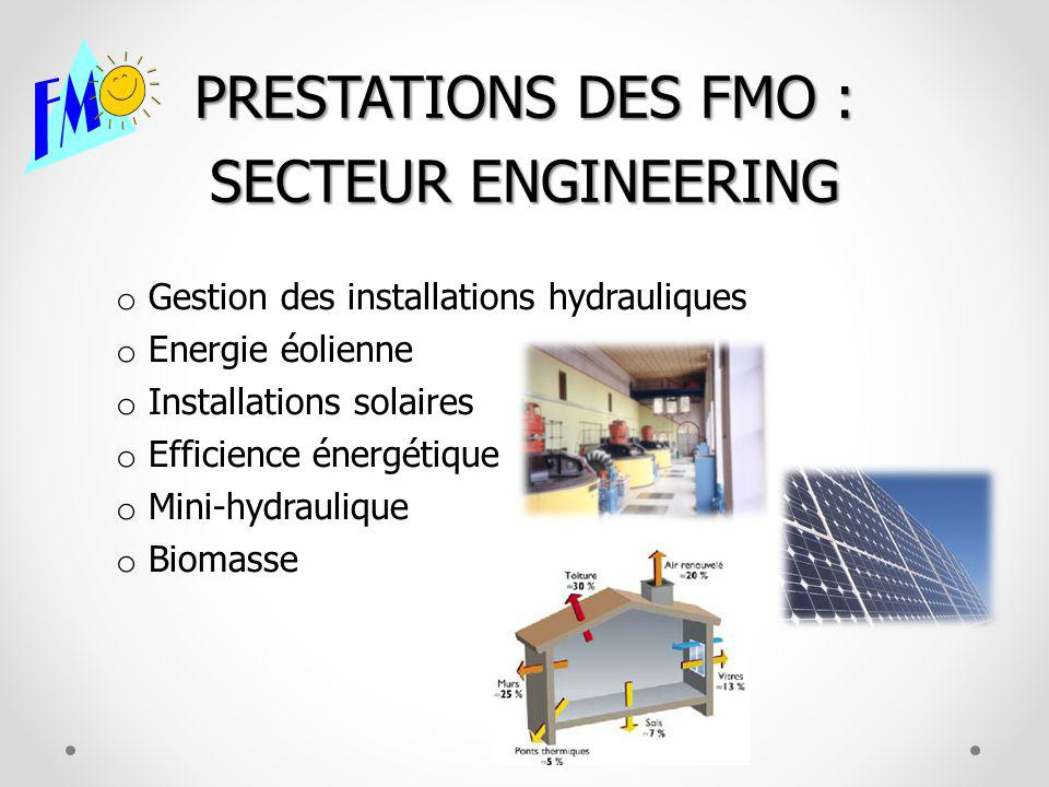 PRESTATIONS DES FMO : SECTEUR ENGINEERING o Gestion des installations hydrauliques o Energie éolienne o Installations solaires o Efficience énergétiqu