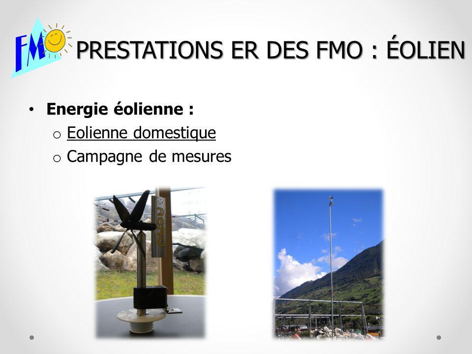 PRESTATIONS ER DES FMO : ÉOLIEN Energie éolienne : o Eolienne domestique o Campagne de mesures