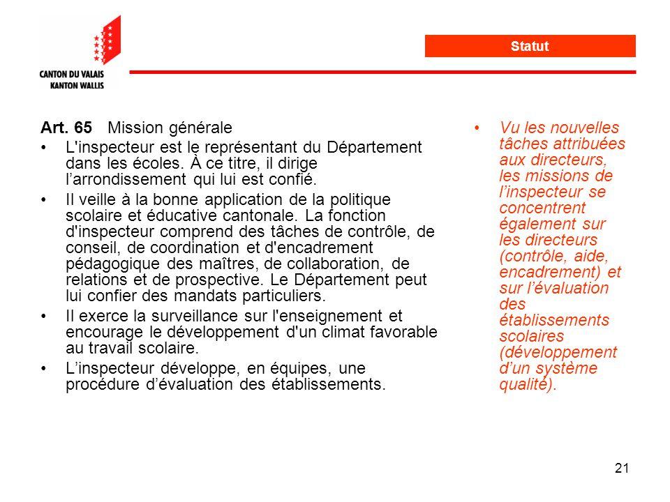 21 Statut Art. 65Mission générale L inspecteur est le représentant du Département dans les écoles.