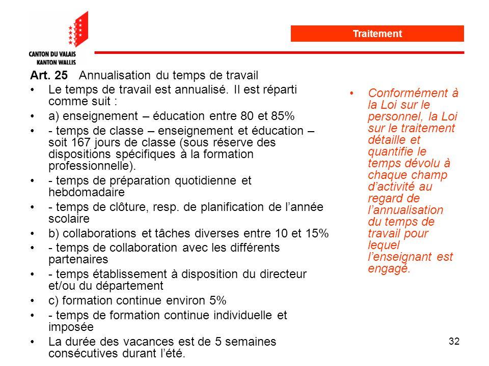 32 Statut et traitement Art. 25Annualisation du temps de travail Le temps de travail est annualisé.