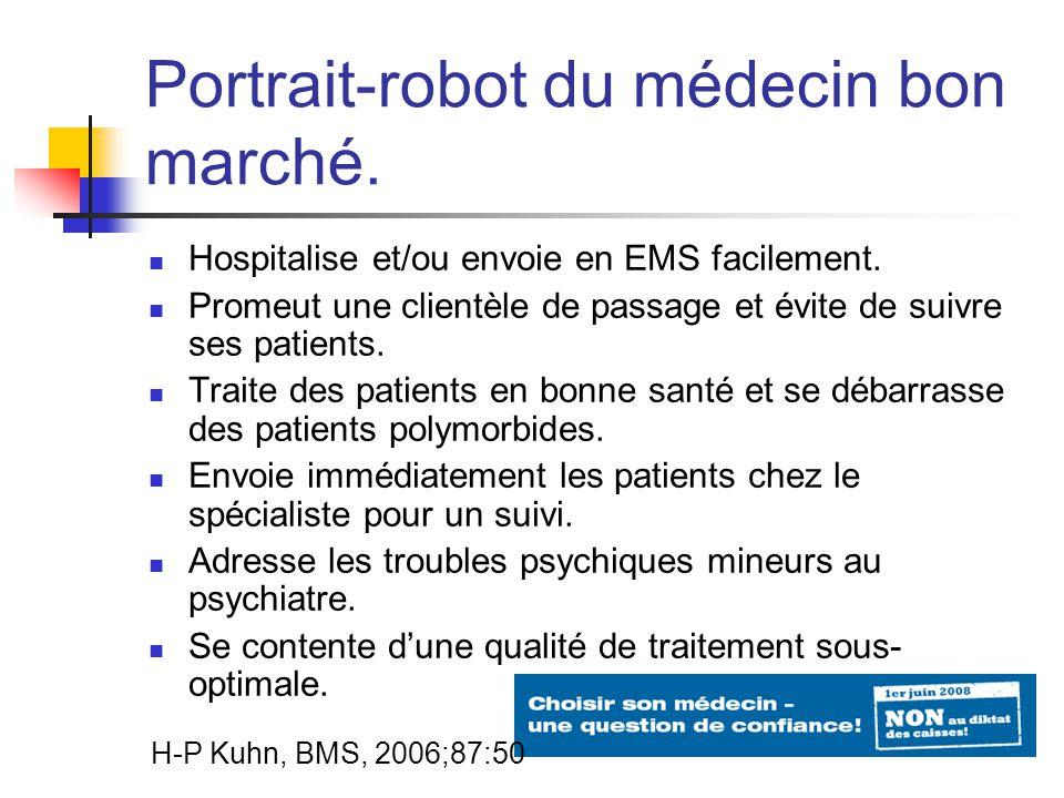 Portrait-robot du médecin bon marché. Hospitalise et/ou envoie en EMS facilement.